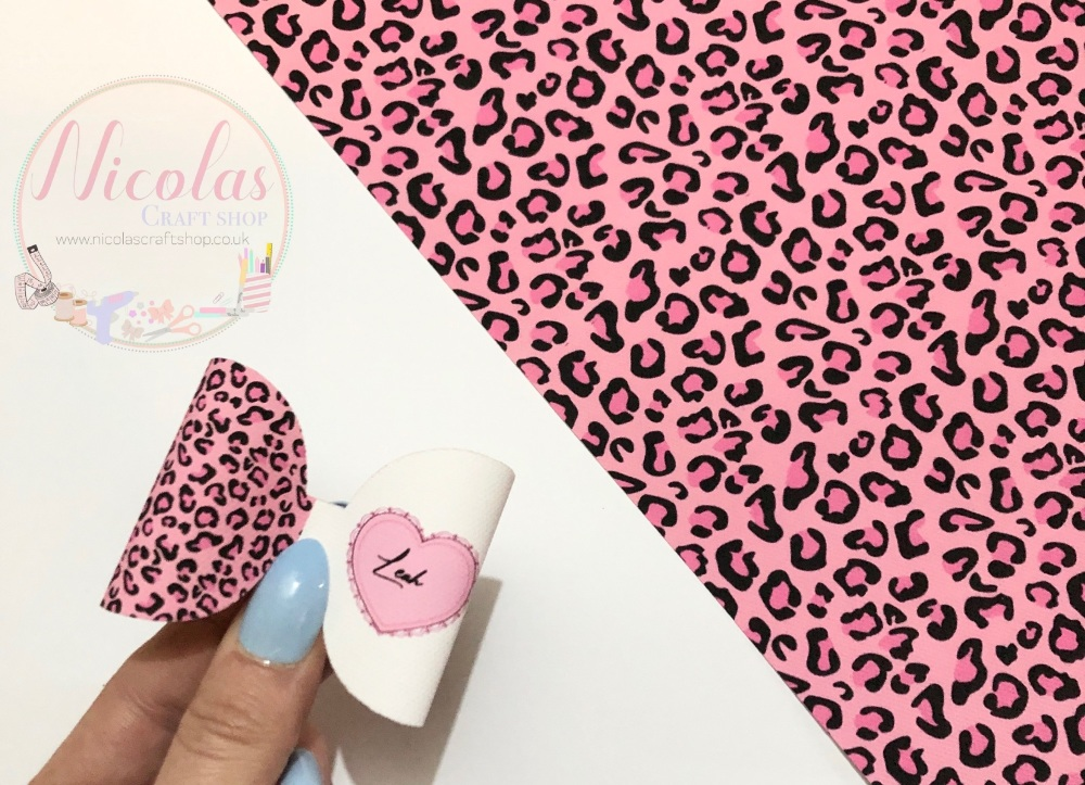 The Pink leopard personalised pre cut bow loop