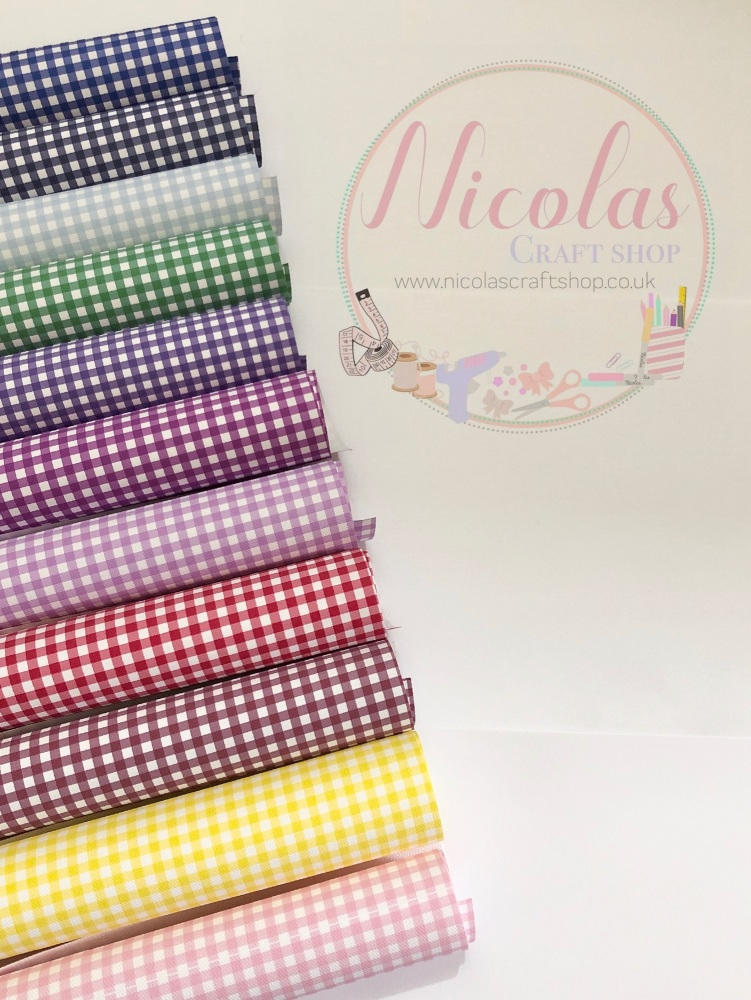 Gingham Printed Canvas Sheet - Choose Colour