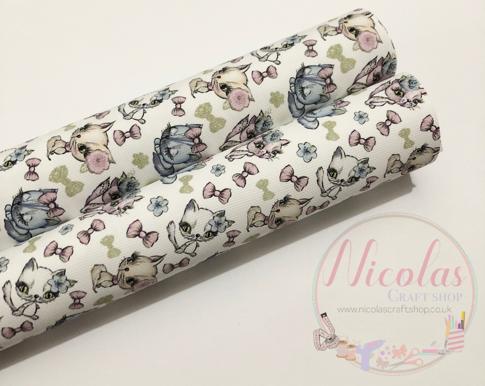 Pussy cat bows printed canvas sheet fabric