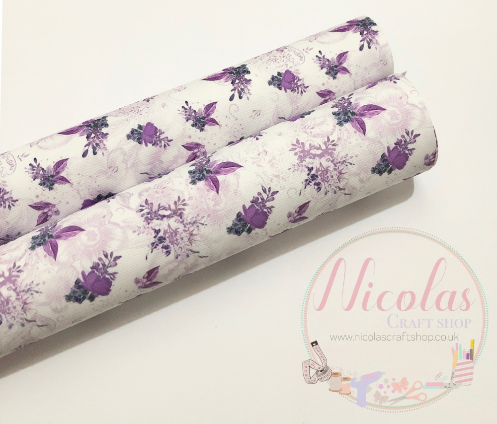 Lilac white Floral printed canvas sheet