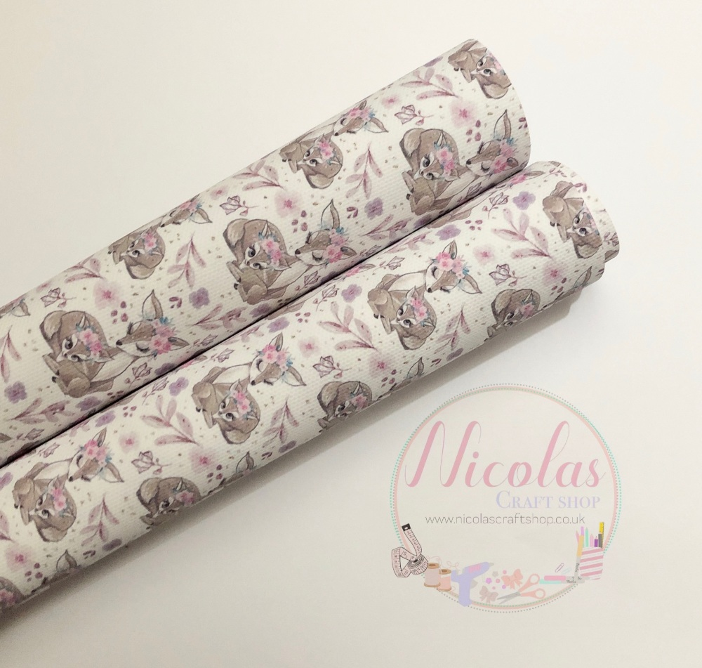 White floral deer mummy printed canvas sheet