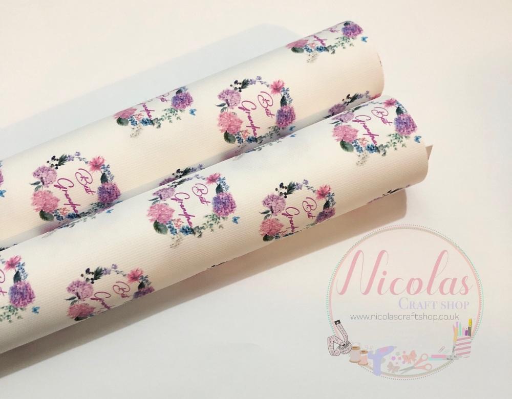 Best Grandma floral print printed canvas sheet
