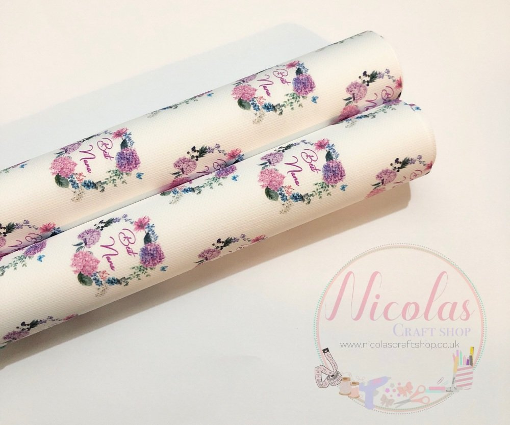 1101 - Best Nana floral print printed canvas sheet
