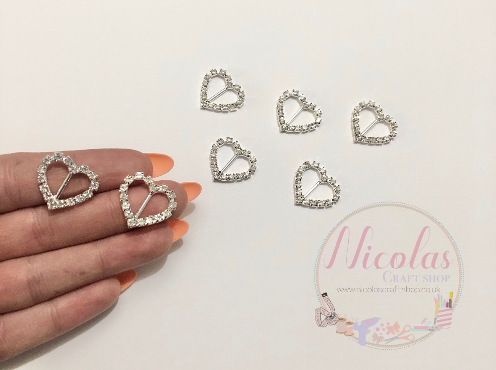 Rhinestone ribbon slider heart buckles 15mm