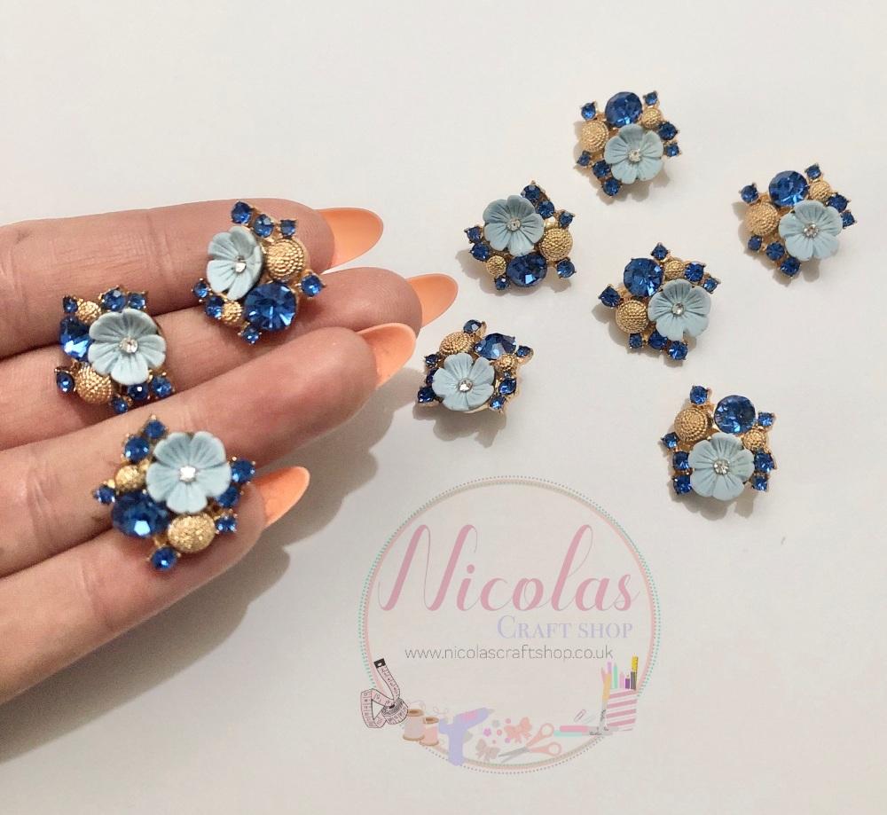 Blue floral bling gem embellishment