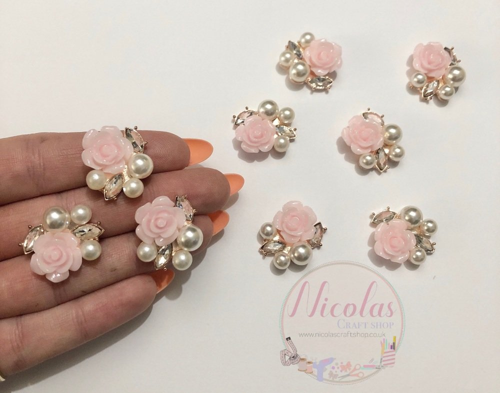 Light pink flower floral bling gem embellishment