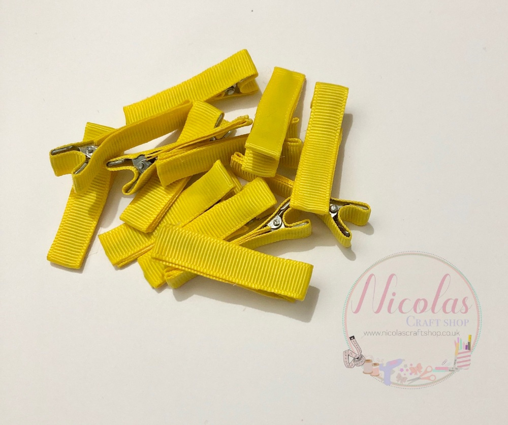 Yellow Pre lined 45mm alligator clips (pack of 10)