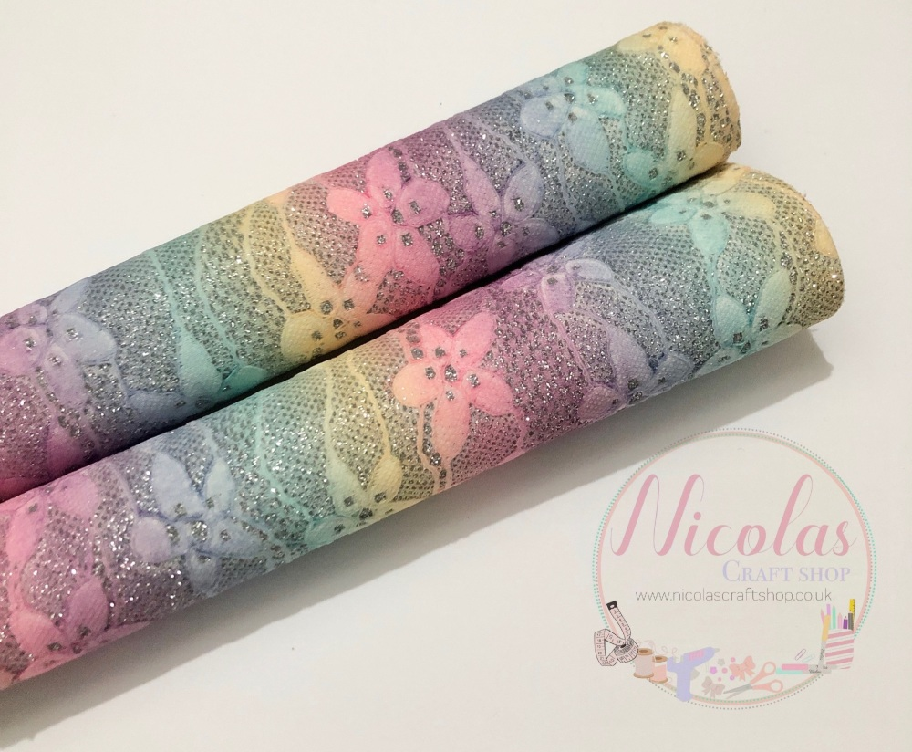Pastel Rainbow fine glitter lace fabric sheet