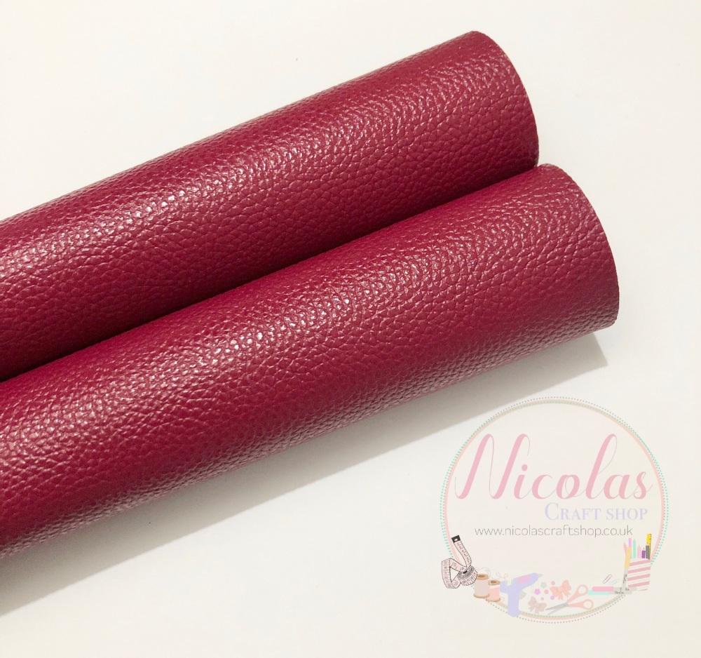 Litchi wine plain leatherette fabric
