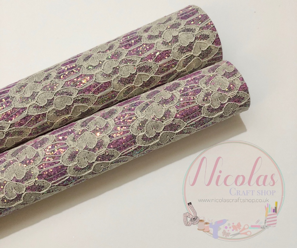 Lilac fine glitter lace fabric sheet