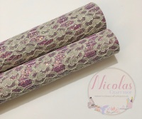 Lilac fine glitter lace fabric sheet