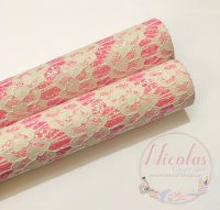 Pink fine glitter lace fabric sheet