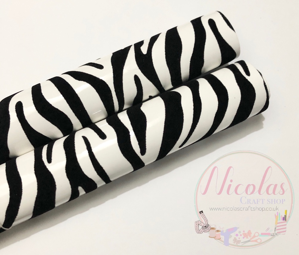 Zebra Black and white velvet printed fabric sheet a4