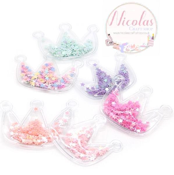 Transparent shaker crowns embellishment