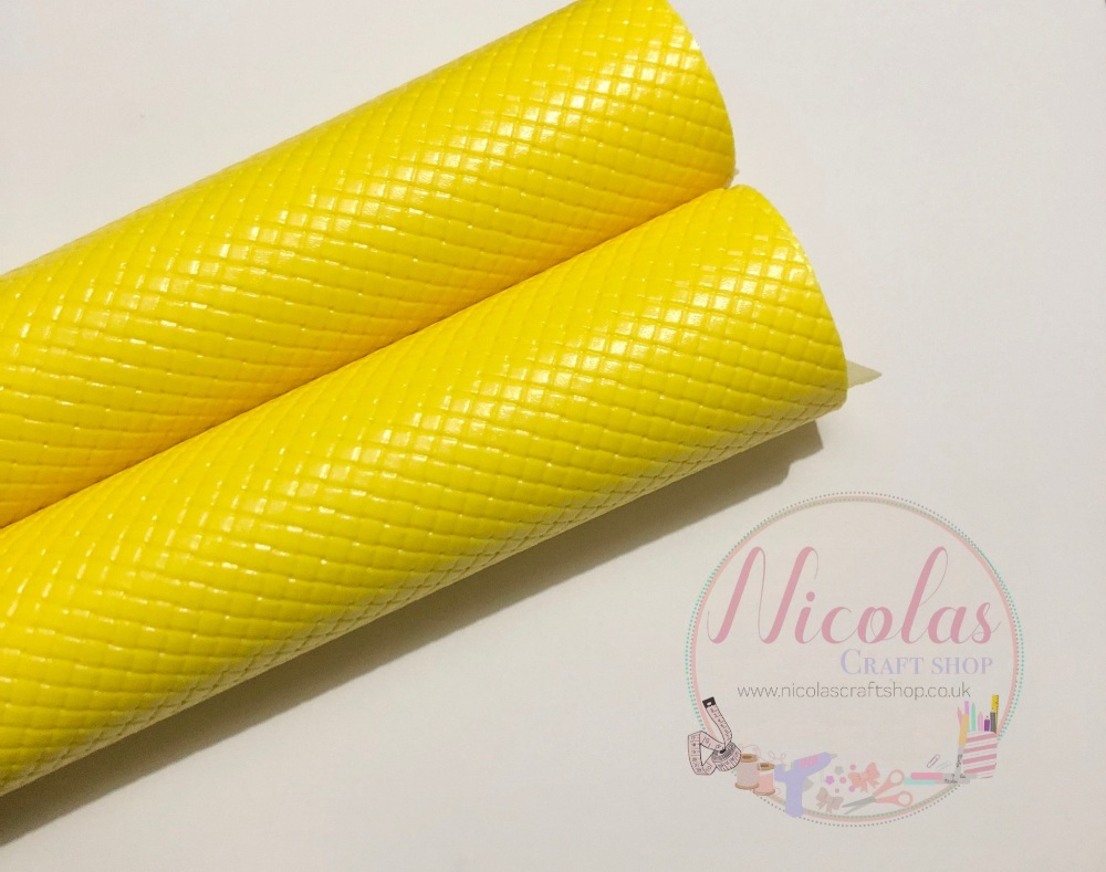Glossy yellow patterned plain leather a4