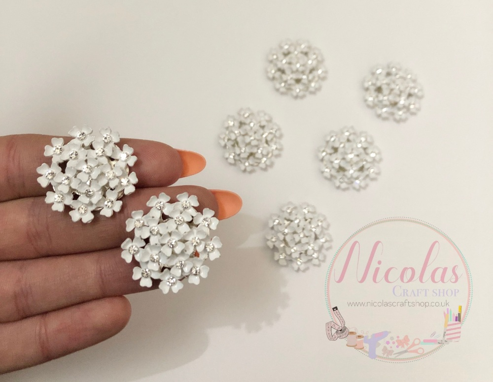 White floral bling embellishment
