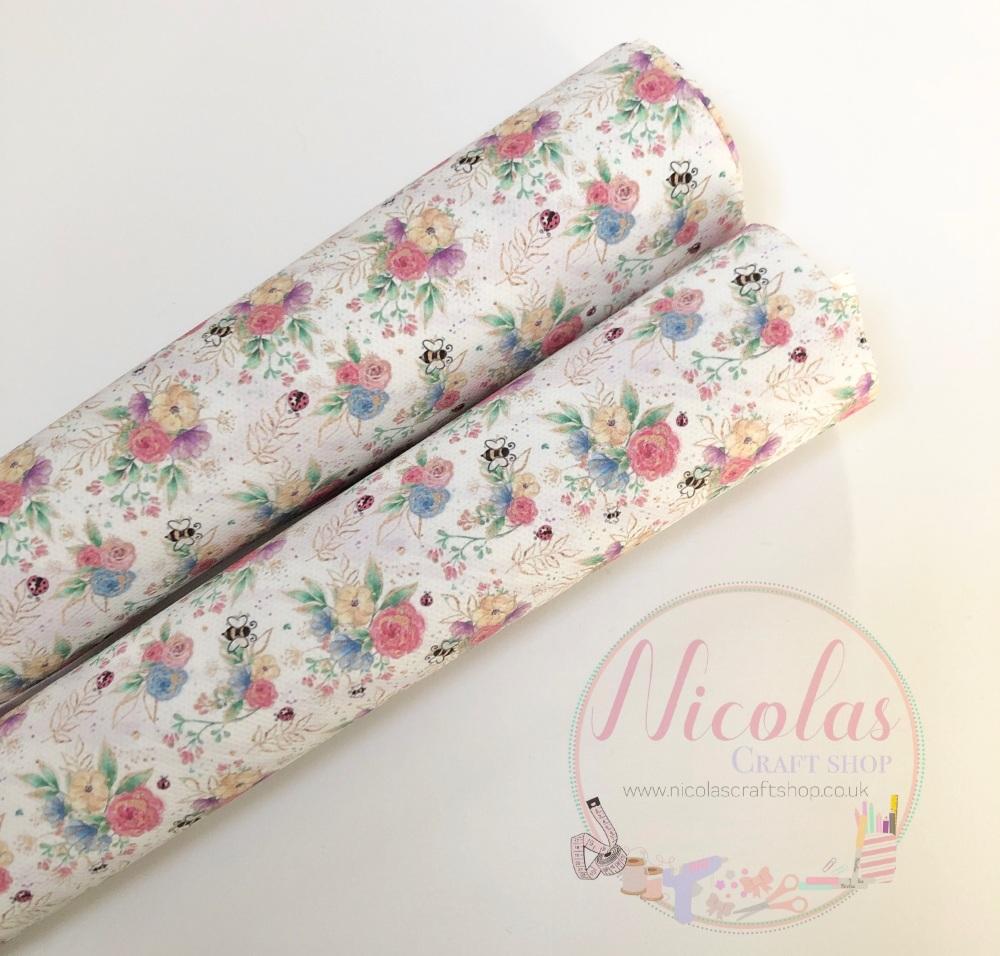 Stunning spring floral printed canvas sheet
