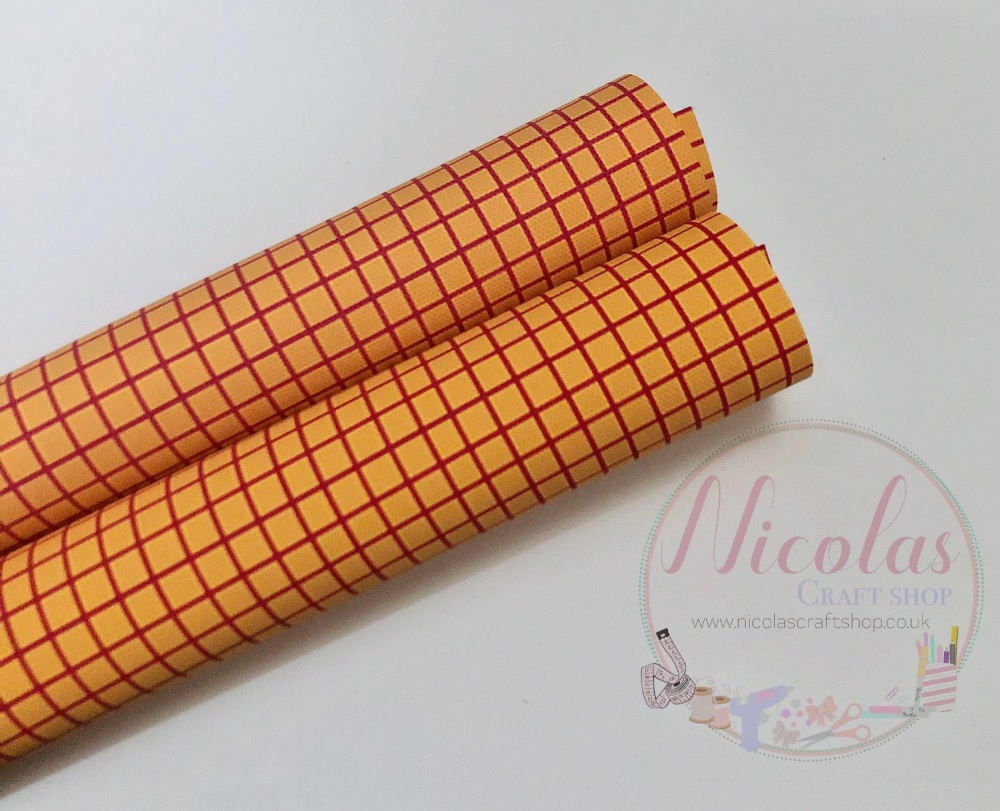 Yellow Patterned Checkered Printed Canvas Sheet