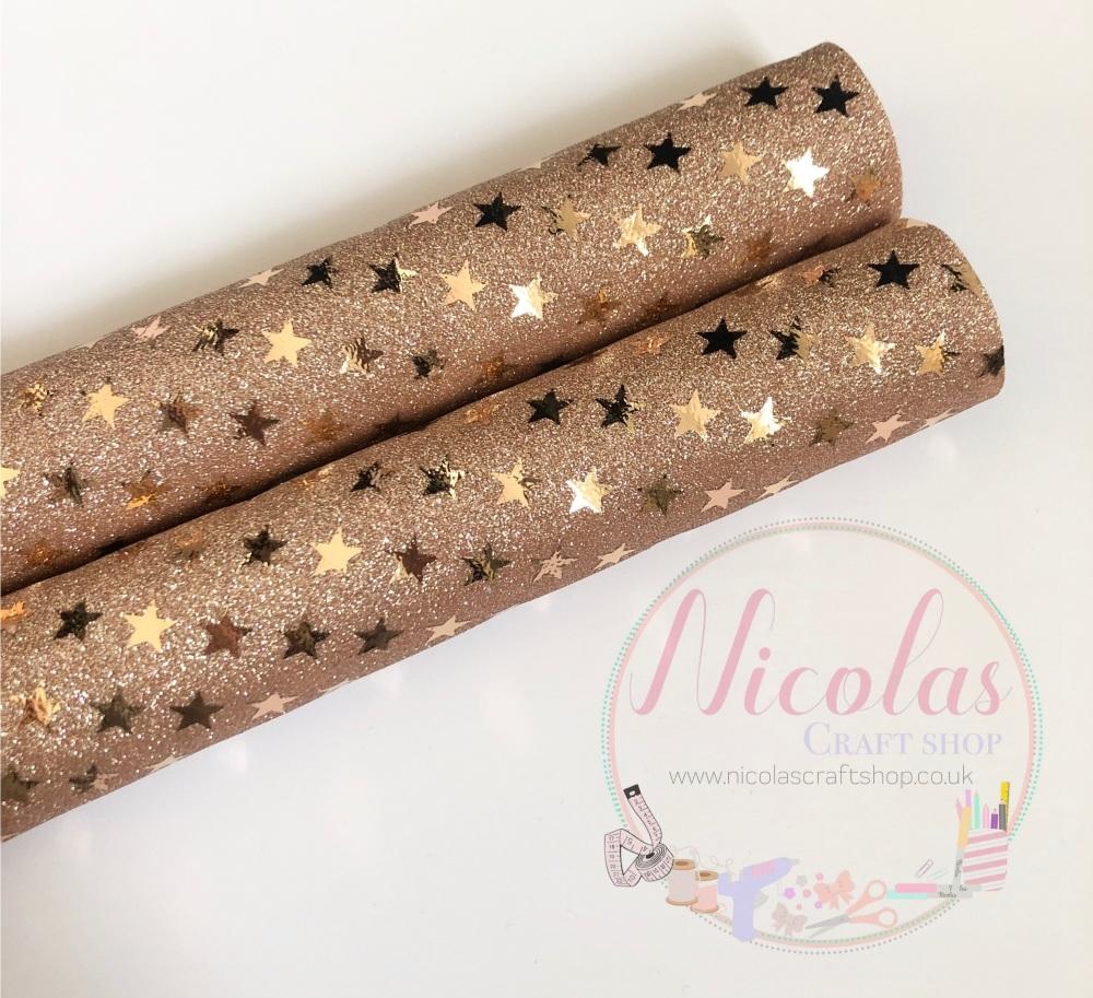 Rose Gold Star metallic fine glitter fabric