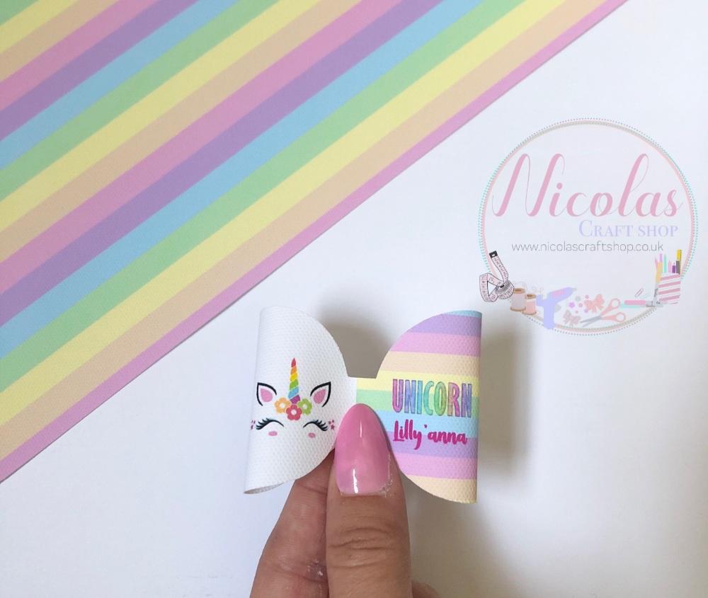 UNICORN - pre cut pastel rainbow printed canvas bow loop