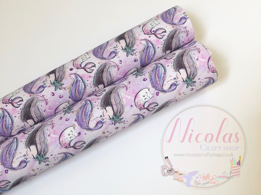 1003 - Adorable Narwhal  mermaid purple printed canvas sheet