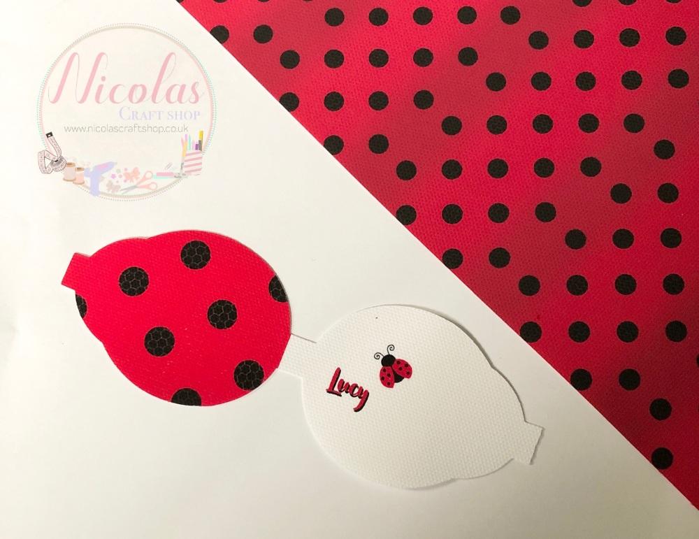 Ladybird ladybug print printed pre cut bow loop