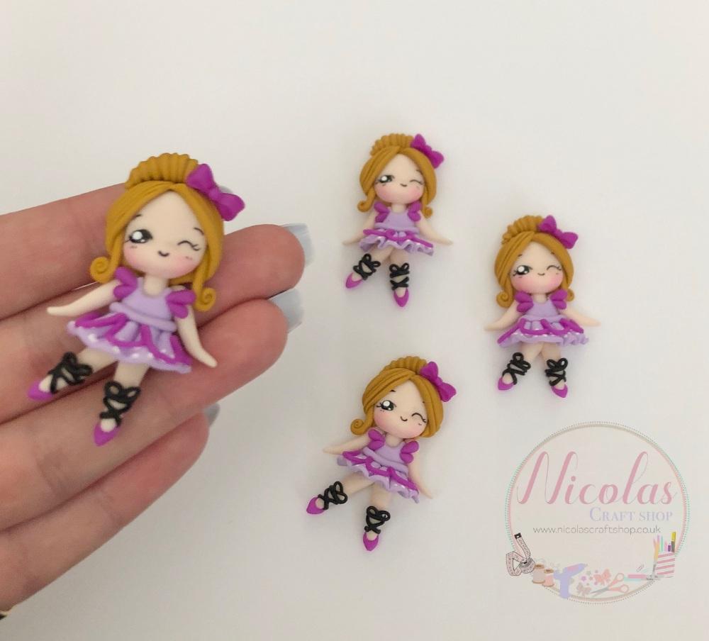 Pretty In Purple Ballerina Girl full body polymer clay