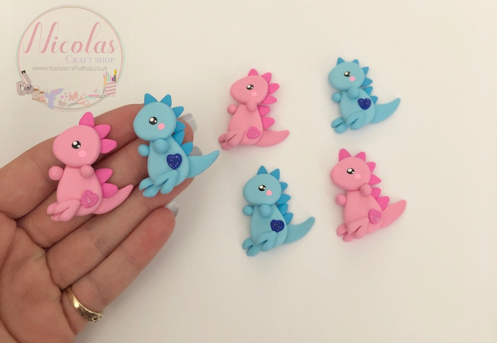 Pretty Pink Blue Dinosaur full body polymer clay