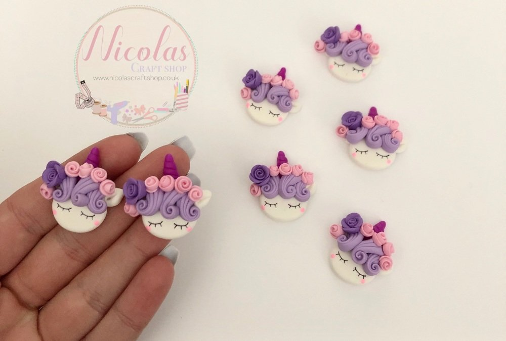 Purple floral hair sleeping unicorn  floral polymer clay