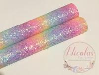 Pastel Rainbow Chunky Glitter Sheet