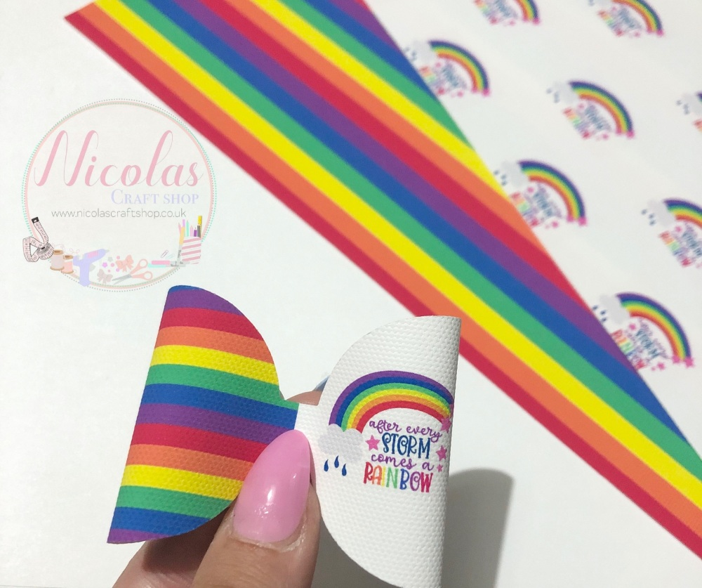 After every storm comes an rainbow printed pre cut bow loop