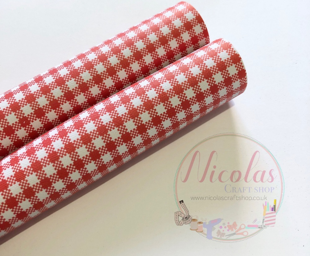 Red Gingham print printed leatherette fabric