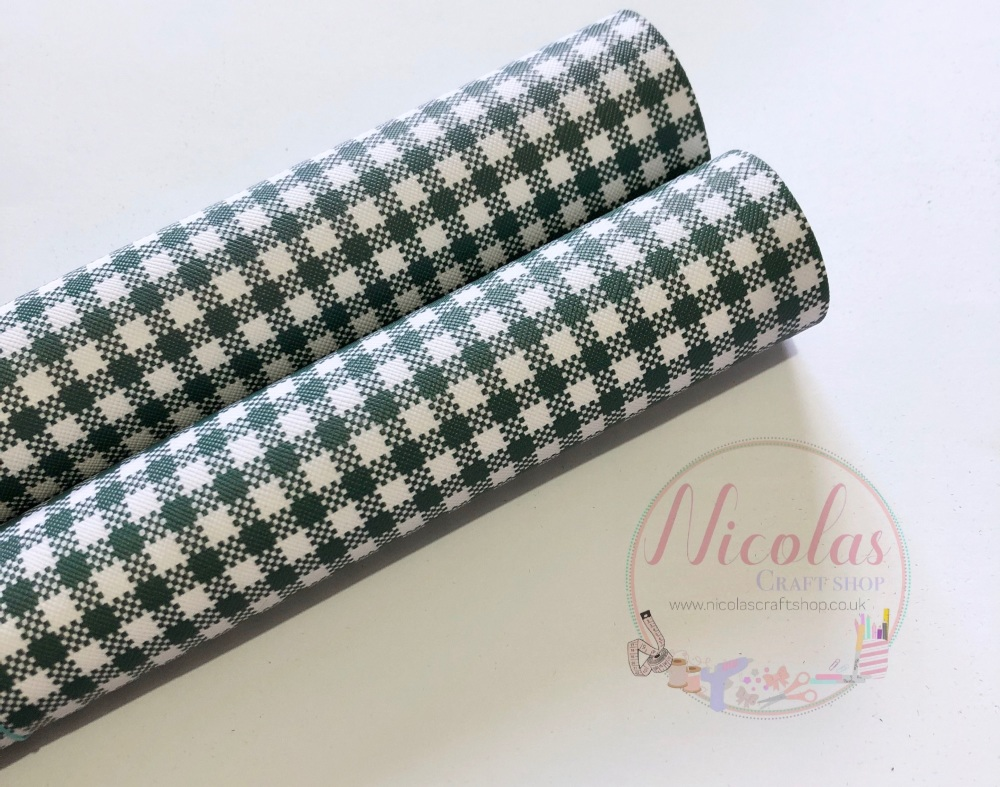 Green Gingham print printed leatherette fabric