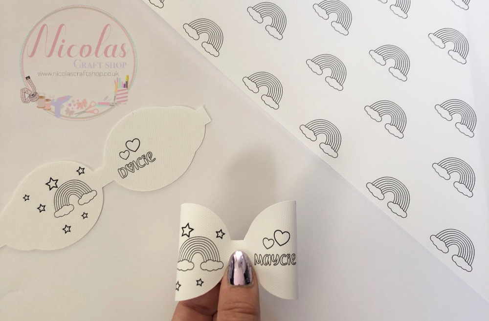 Colour in personalised rainbow printed canvas pre cut bow loop