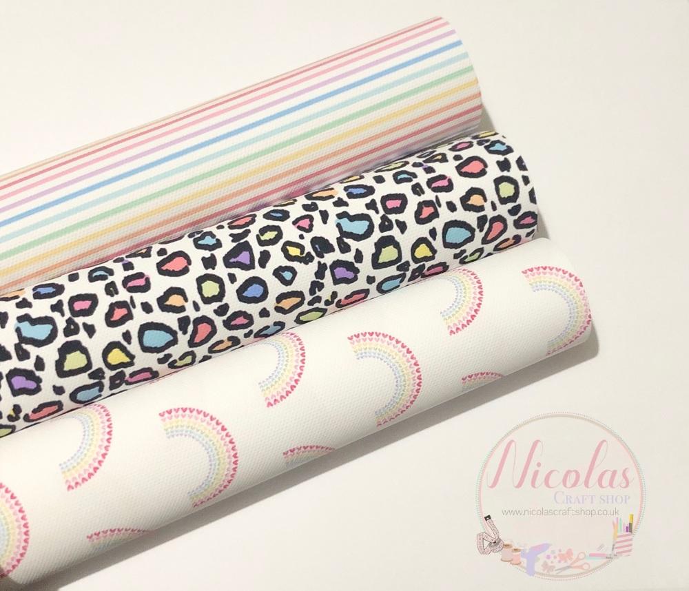 Pastel rainbow printed canvas bundle