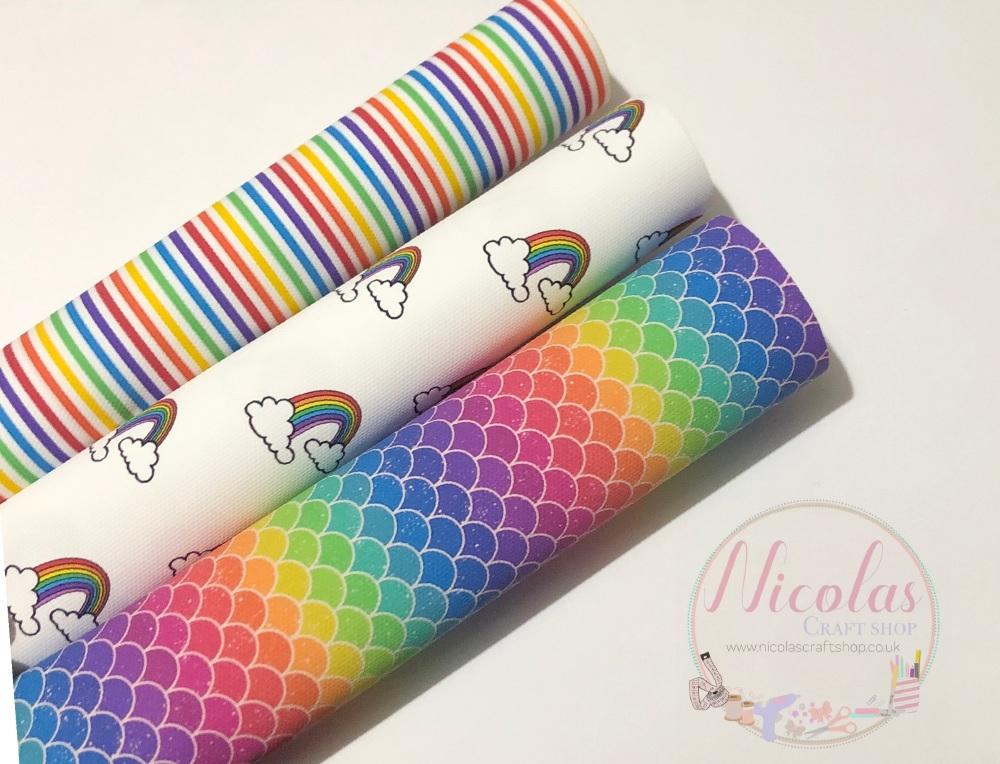 Bright rainbow printed canvas bundle