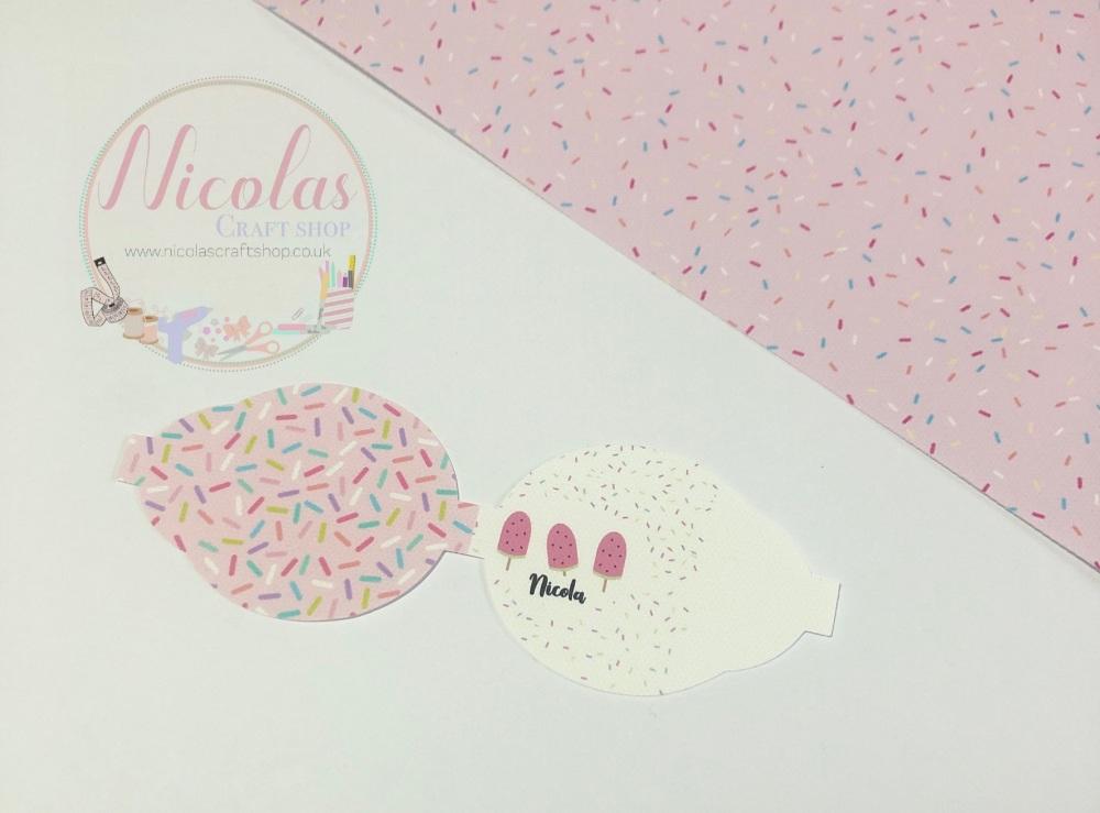 Pink sprinkle lolly printed pre cut bow loop