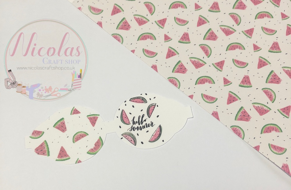 Hello Summer Watermelon collage printed pre cut bow loop