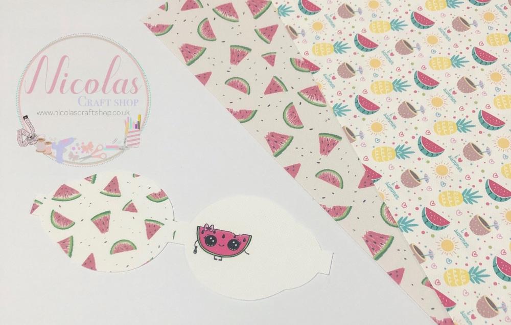 Kawaii Watermelon pre cut printed bow loop