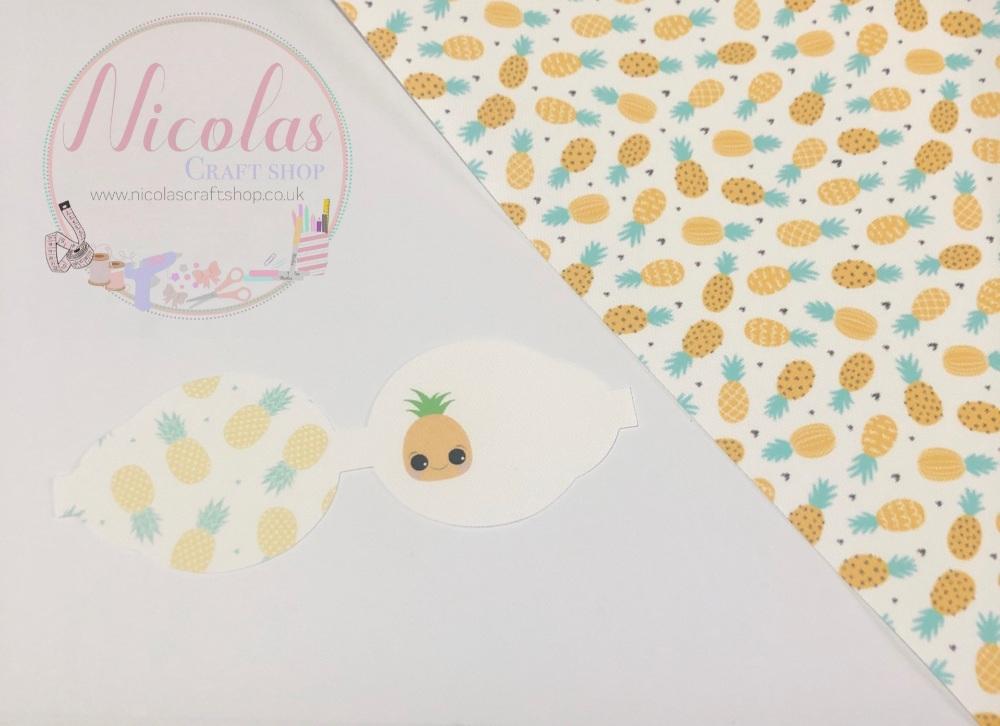 Kawaii Pineapple printed pre cut bow loop