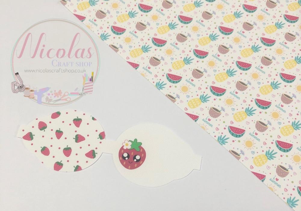 Kawaii Strawberry pre cut printed bow loop