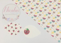 Kawaii Strawberry pre cut printed bow loop