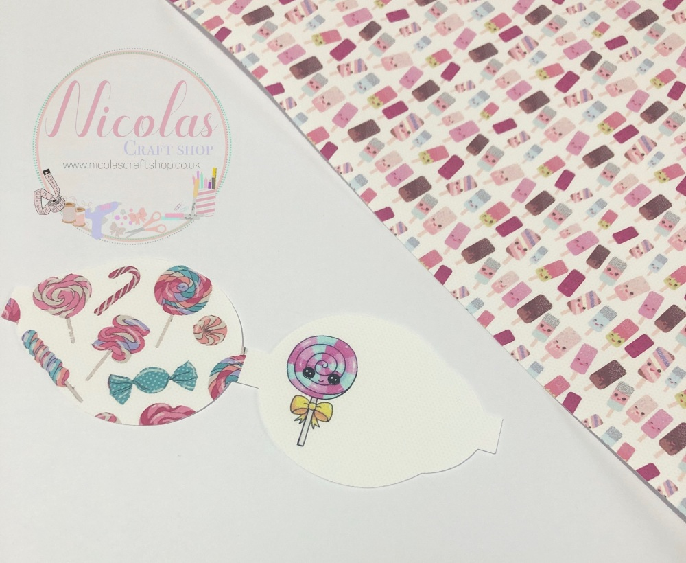 Kawaii Lollipop pre cut printed bow loop