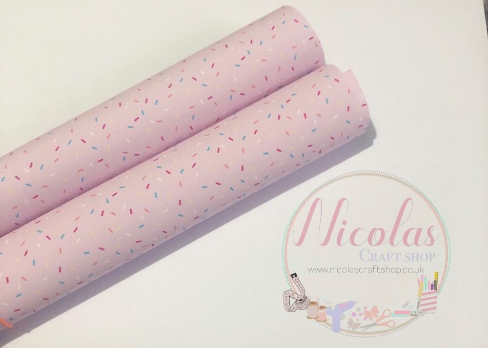 Sprinkles Pink printed canvas sheet