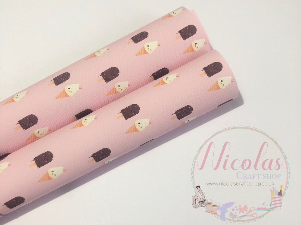 Pink chocolate lolly & ice cream printed canvas sheet