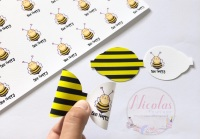 Bee Happy pre cut printed bow loop