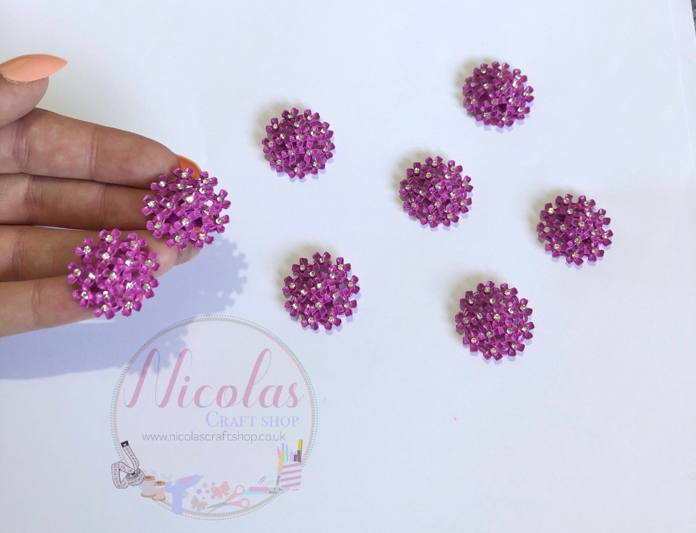 Lavender Purple Floral Bling Embellishment