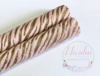 FUR PINK Zebra Glitter effect fabric