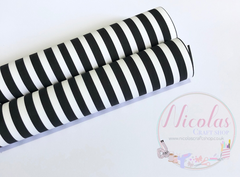 Black and white stripe printed canvas fabric