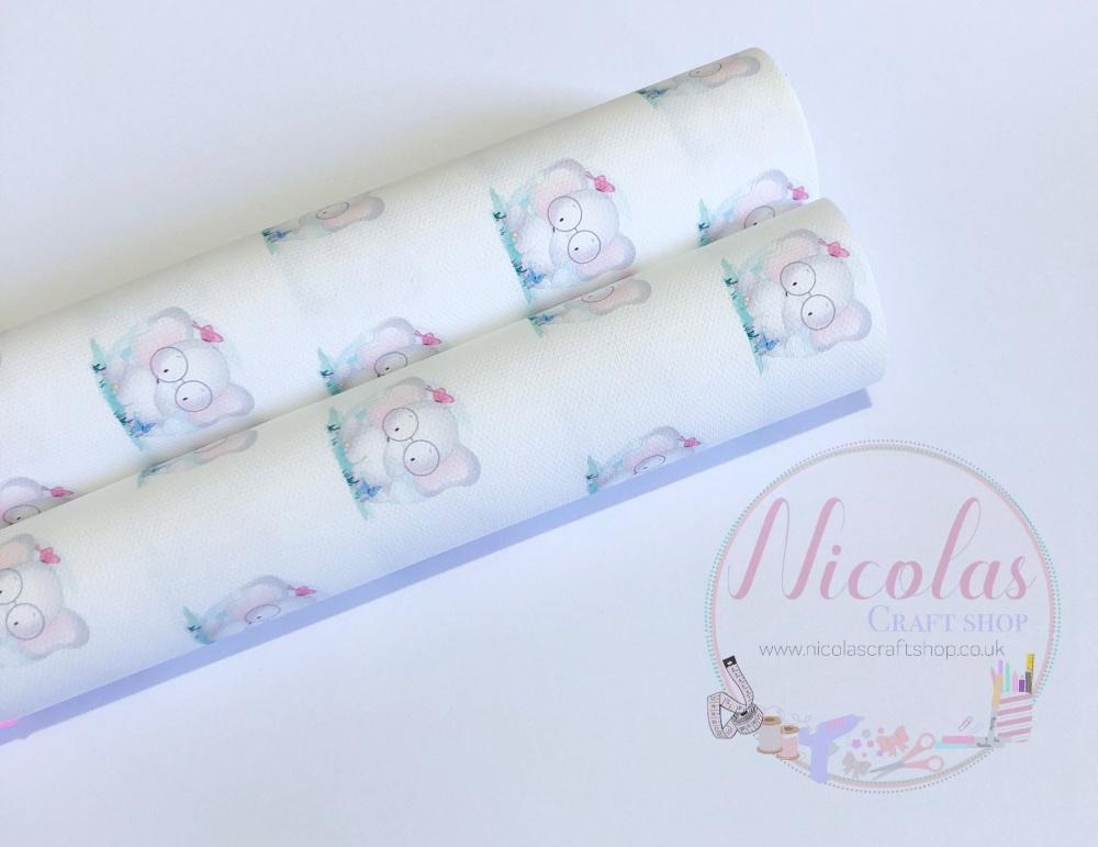 Geeky cute glasses elephant printed canvas fabric